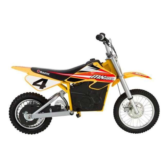15165070 + 97775 + 96785 Razor MX650 Dirt Rocket Electric Moto Bike with Helmet, Elbow & Knee Pads 3