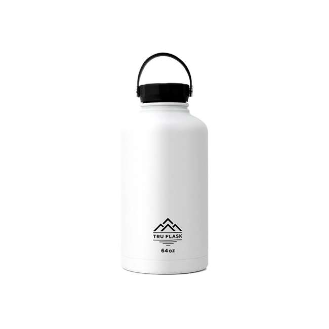 TF64 White TruFlask 64oz Stainless Steel Water Bottle, White