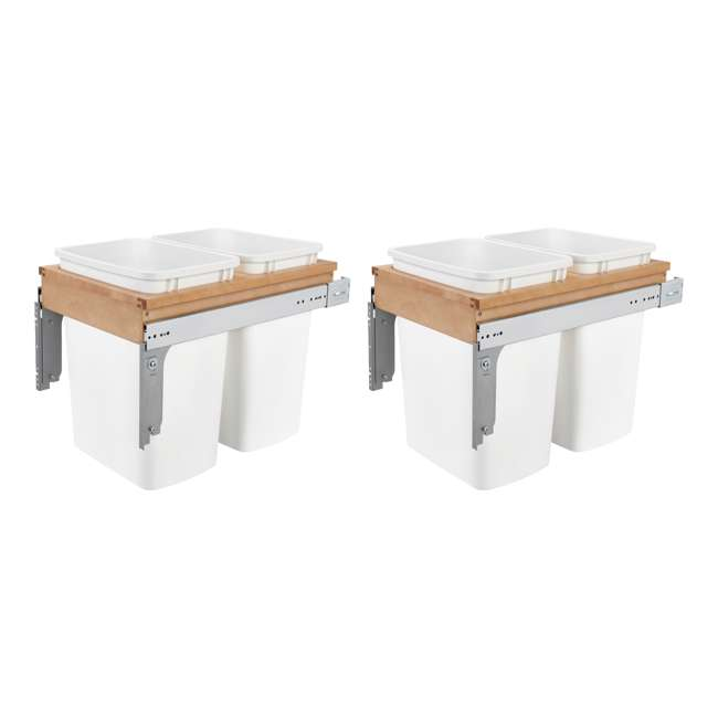 4WCTM-18DM2-25 Rev A Shelf 35 Quart Pull Out Sliding Double Waste Trash Container Bin, White (2 Pack)