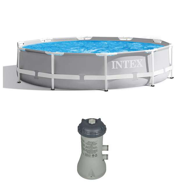 26700EH + 28637EG Intex Above Ground Outdoor Swimming Pool w/ Cartridge Filter Pump System