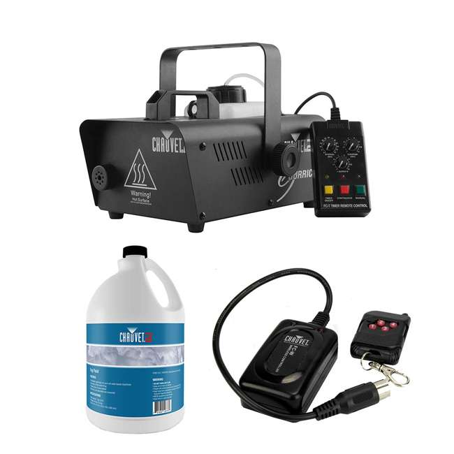 H1200 + 2 x FJU + FC-W Chauvet DJ Hurricane 1200 Fog Machine w/ 1 Gallon Bottle of Fog Juice & Remote
