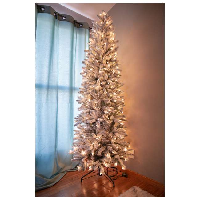 TG70P3A45S04-U-B Home Heritage 7' Frosted Alpine Quick Set Flocked Christmas Lit Tree (Used) 4