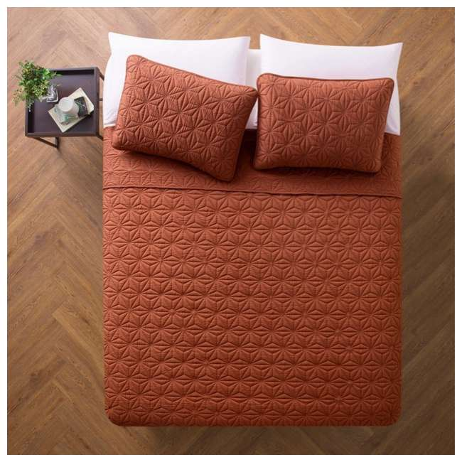 KLI-3QT-FUQU-IN-OB VCNY Home Kaleidoscope Geometric Orange 3 Piece Bed Quilt & Sham Set, Full/Queen 2
