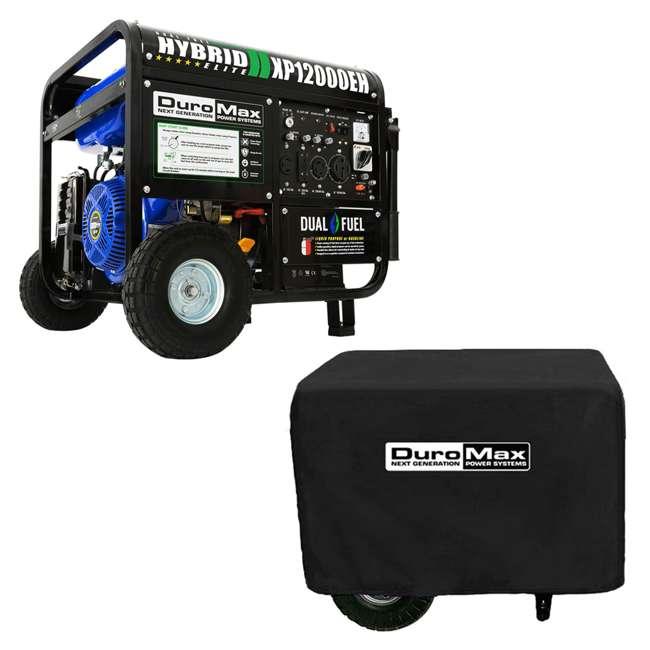 XP12000EH + XPLGC DuroMax 12000 Watt Portable Hybrid Generator & Generator Cover, Black
