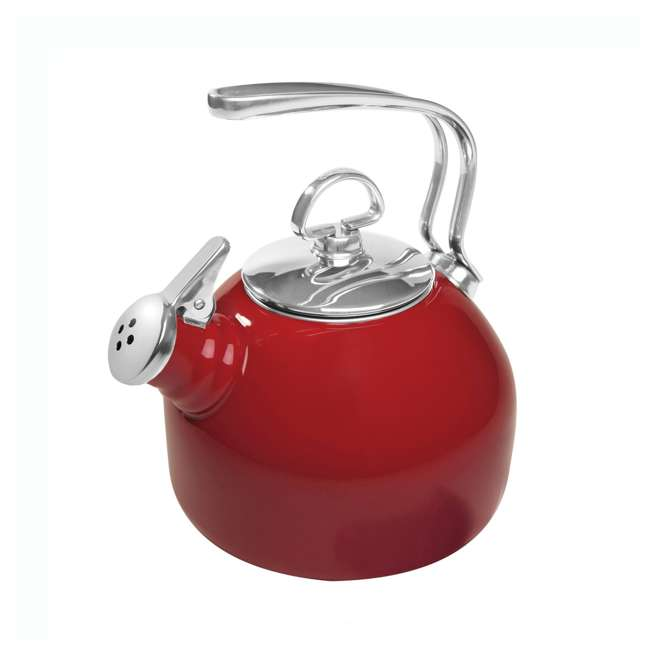 37-18S-RE Chantal 1.8 Quart Enamel Stove Top Whistling Tea Pot Kettle, Red (2 Pack)