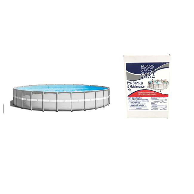 26345VM + QLC-42005 Intex Ultra Frame Swimming Pool Set + Qualco Pool Chemical Maintenance Kit