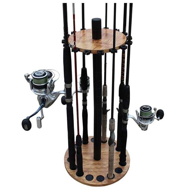 38-3030 Rush Creek Creations 38-3030 American Cherry Wood 16 Fishing Rod Round Rack