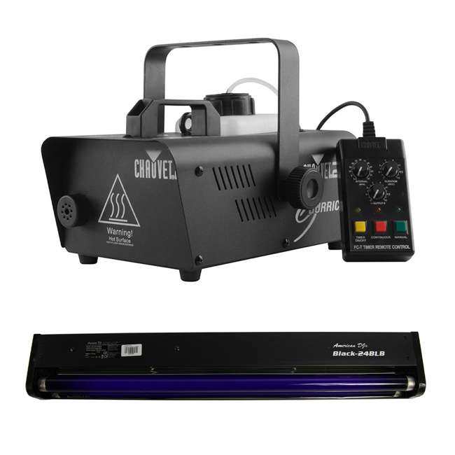H1200 + BLACK-24BLB CHAUVET DJ Hurricane 1200 1.0L Fog Smoke Machine + DJ 24-Inch 20W Black Light