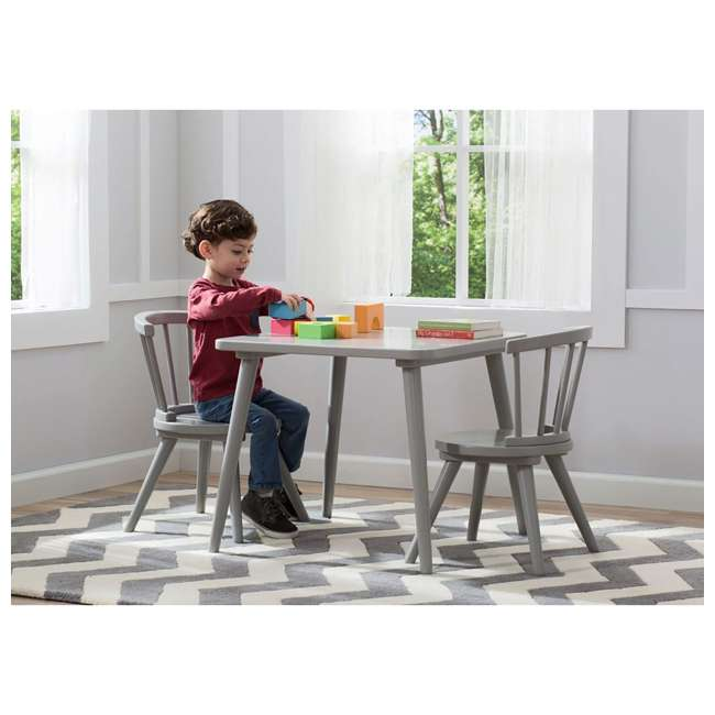 531300-026-U-A Delta Children Windsor Home Dining Table and 2 Chair Play Set, Grey (Open Box) 4