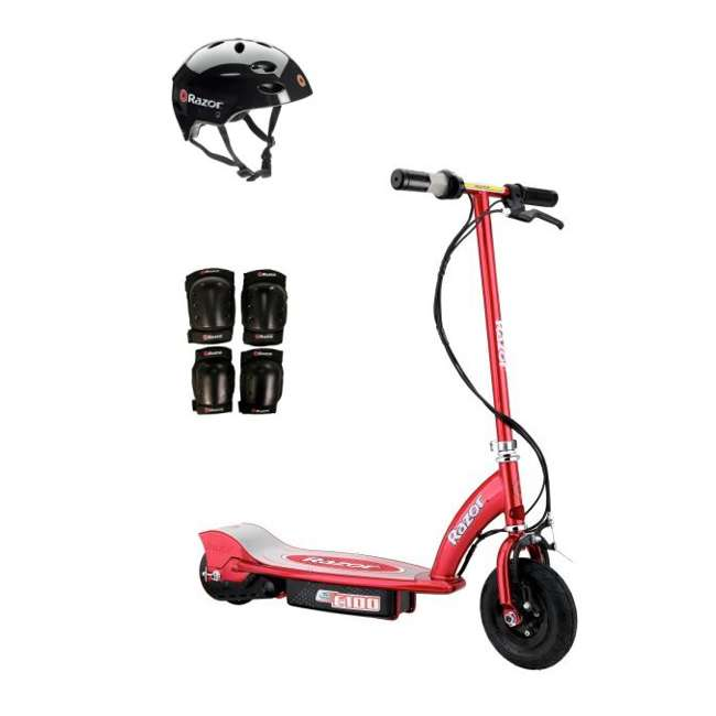 13111260 + 97778 + 96785 Razor E100 Electric Scooter (Red) with Helmet, Elbow & Knee Pads