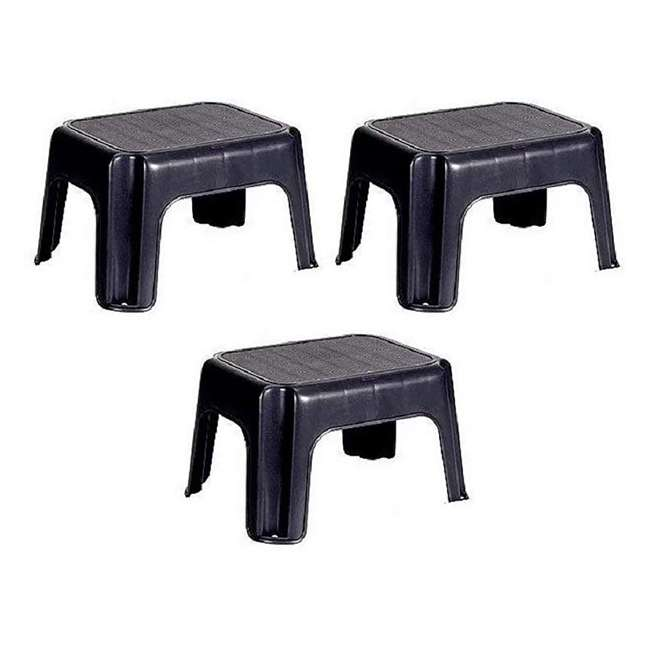 3 x 1858957 Rubbermaid Durable Plastic Step Stool w/ 200-LB Weight Capacity, Black (3 Pack)