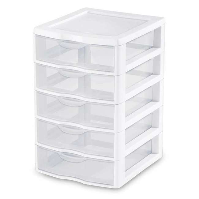 8 x 20758004-U-A Sterilite Clearview Small 5 Drawer Desktop Storage Unit White (Open Box)(8 Pack)