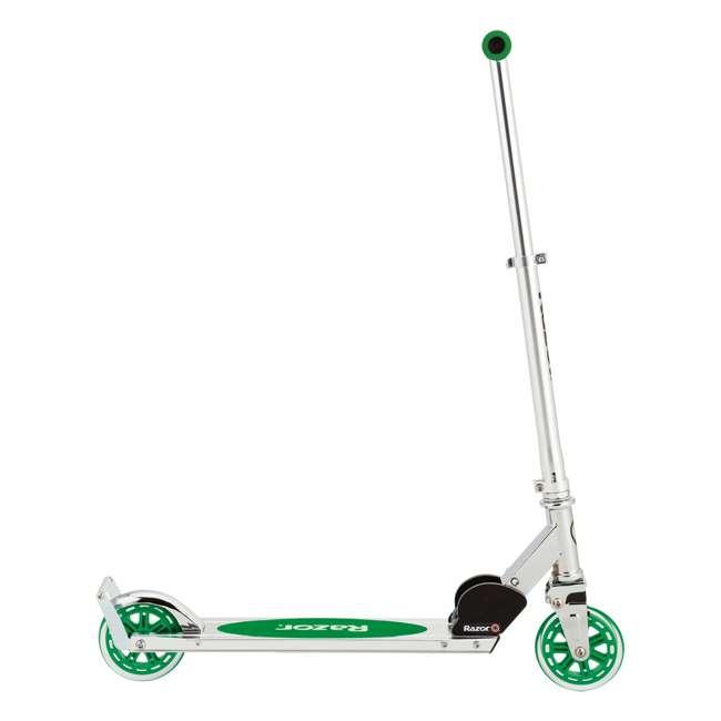 13014360 + 13014330 Razor A3 Aluminum Portable Kids Kick Scooter w Wheelie Bar, Red & Green (2 Pack) 9