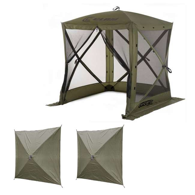 CLAM-TV-9870 + CLAM-WP-2PK-9896 Clam Quick-Set Traveler Shelter w/Wind Panels (2 Pack), Green