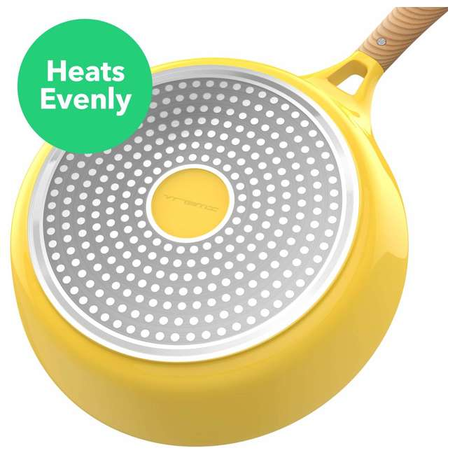 VRM030055N Vremi 1.7 Quart Ceramic Nonstick Angled Frying Pan with Wood Tone Handle, Yellow 2