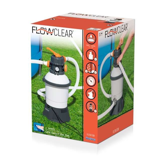 58496E-BW-U-B Bestway Flowclear 1000 GPH Silica & Sand Swimming Pool Filter Pump, Gray (Used) 2