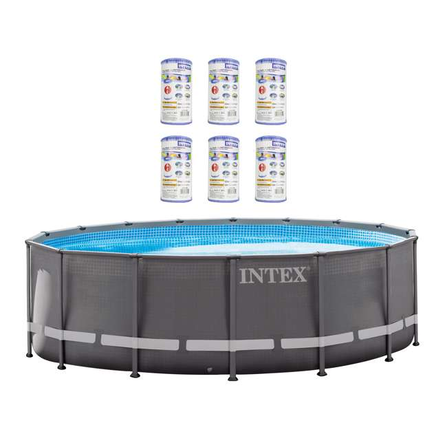 "26321EH + 6 x 29000E Intex 16' x 48"" Ultra Frame Above Ground Pool Set and Six Filter Cartridges"