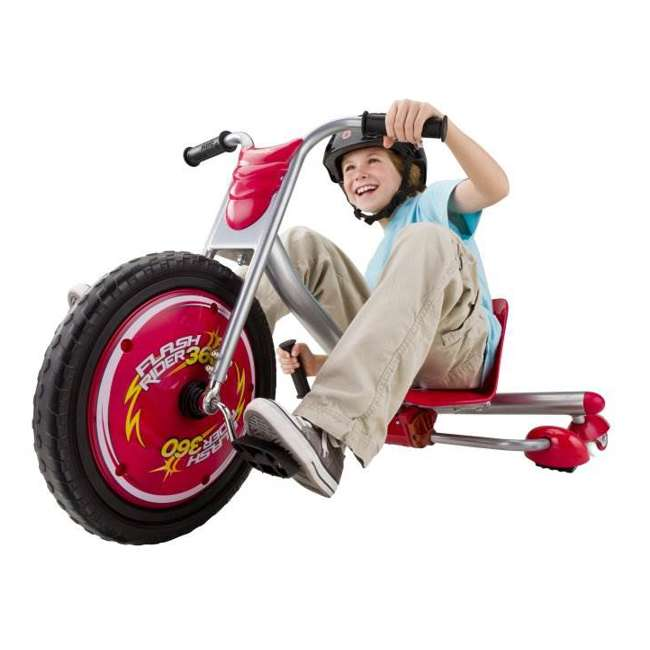 97778 + 20036559 Razor V17 Youth Skateboard/Scooter Sport Helmet & Drifting Ride-On Tricycle, Red 3