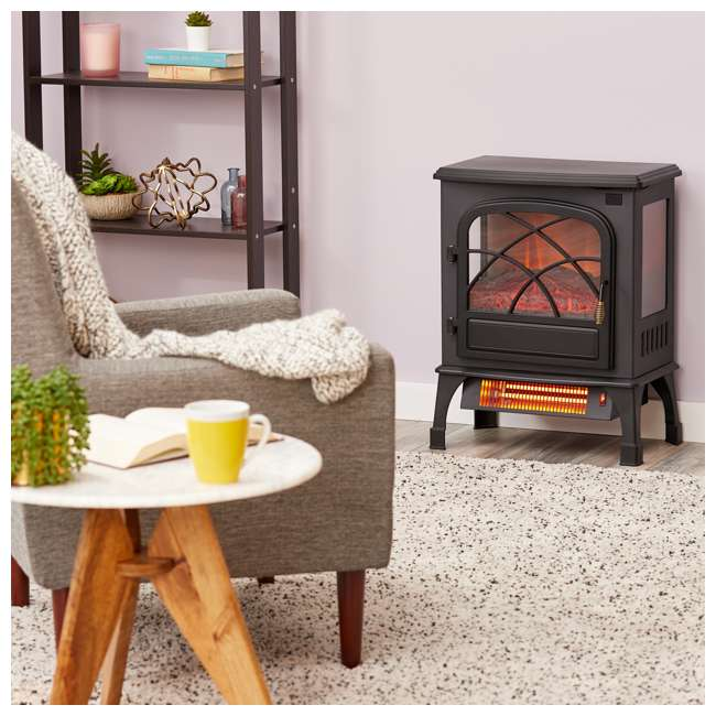 LIM-19-100005 Limina Indoor Electric 1500W Stove Fireplace Infrared Quartz Space Heater, Black 1