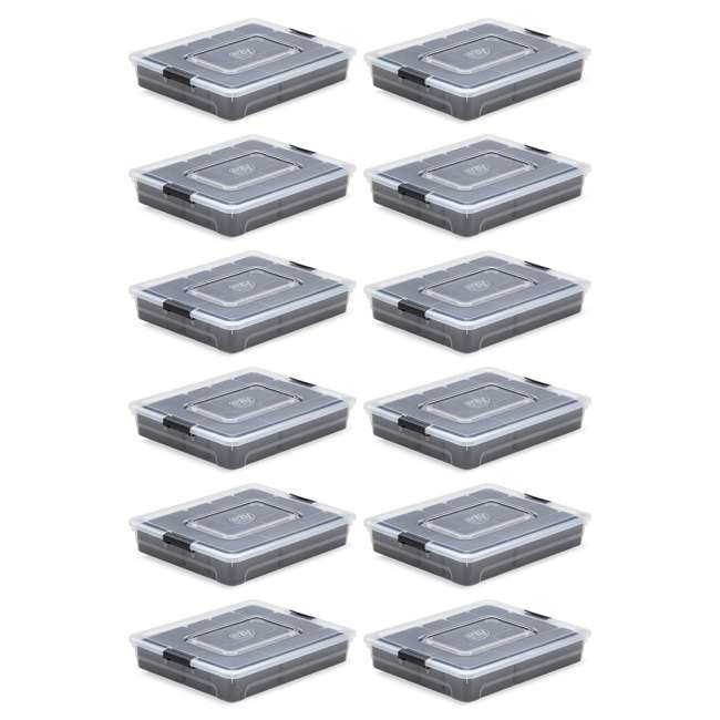 12 x FBA32234 Ezy Storage 4.8 Liter Sort It Storage Box w/ 13 Cup Tray , Clear/Gray (12 Pack)