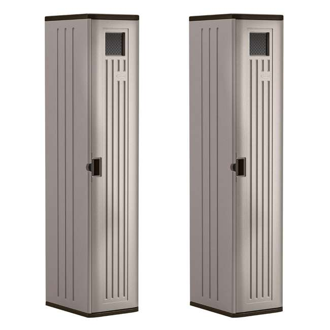 BMC5800 Suncast Tall Easy Assembly Garage Cabinet Storage Locker with Vent (2 Pack)