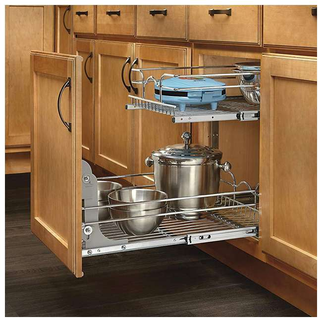 "5WB2-1522-CR Rev-A-Shelf 15"" Wide 22"" Deep Base Kitchen Cabinet 2 Tier Pull Out Wire Basket 6"