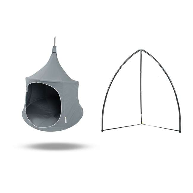TP0500GR + BYHT9001 TreePod Lounger 5' Hanging Canvas Daybed, Graphite w/ Stand