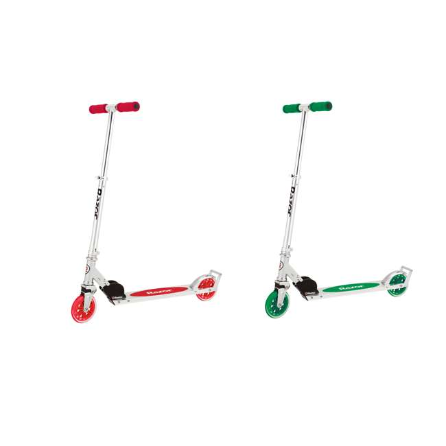 13014360 + 13014330 Razor A3 Aluminum Portable Kids Kick Scooter w Wheelie Bar, Red & Green (2 Pack)