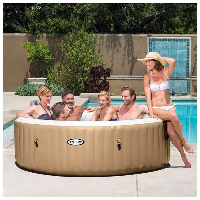 28407E + QLC-14888 Intex Pure Spa 6-Person Inflatable Portable Bubble Jet Hot Tub with Chemical Kit 3