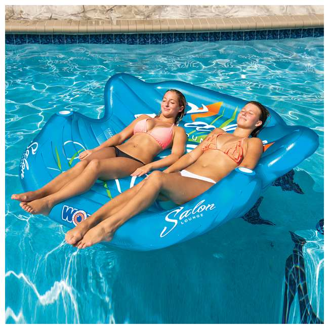 14-2060 WOW Watersports 14-2060 Double Salon Float Reclining Lounge for 2 Person, Blue 5