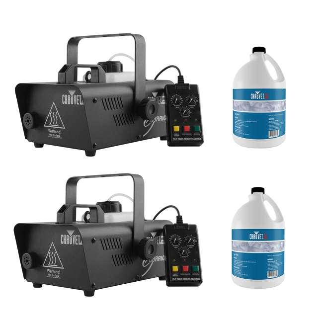 H1200 + 2 x FJU CHAUVET DJ Hurricane 1200 Fog Machine (2 Pack) + Fog Smoke Juice Fluid (2 Pack)