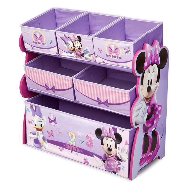 TB84848MN-999 Delta Children Minnie Mouse Wooden Multi Bin Toy Organizer, Pink (2 Pack) 4