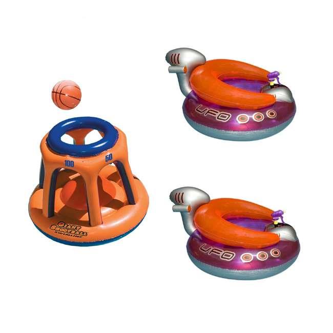 90285 + 2 x 9078 Swimline Basketball Hoop Toy & UFO Lounge Chair Pool Float w/Squirt Gun (2 Pack)