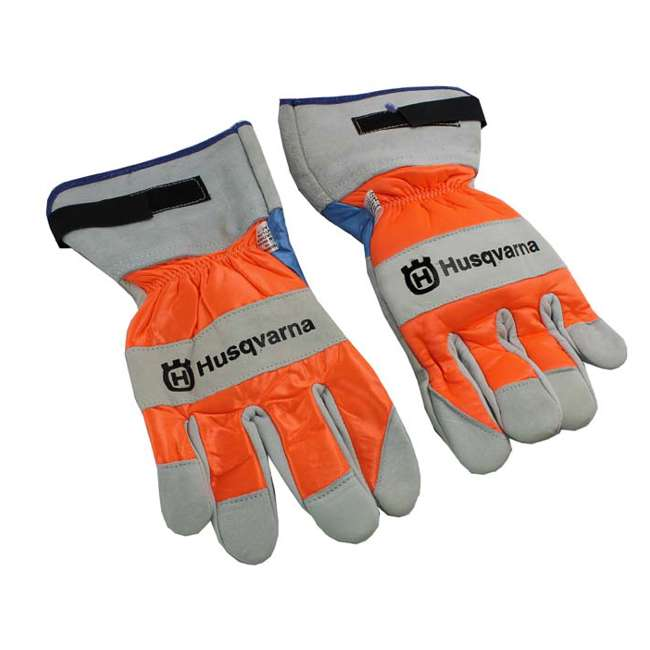 505642210 Husqvarna 505642210 Heavy Duty Leather Work Chain Saw Protective Gloves (Pair)
