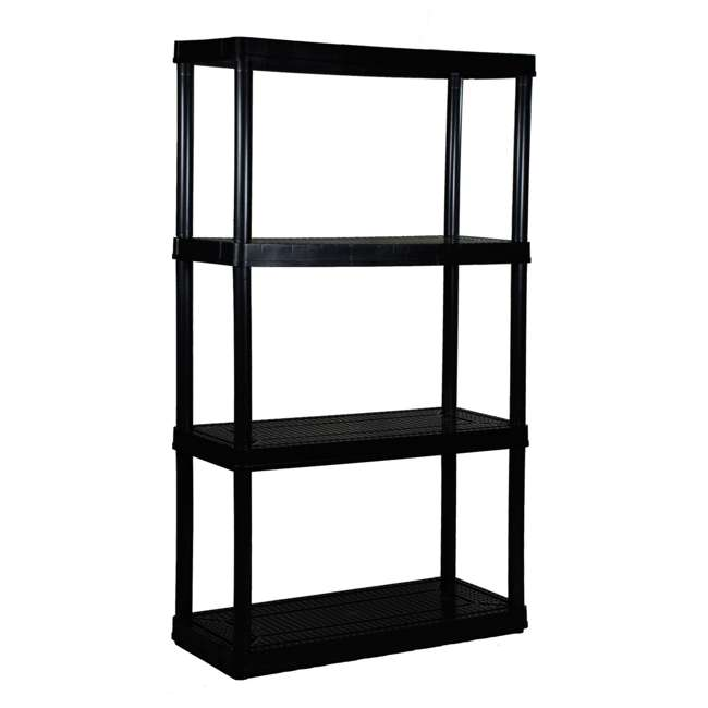 6 x GL91021MAXIT-1C-36 Gracious Living 4-Tier Resin Garage Storage Shelf, Black (6 Pack) 1
