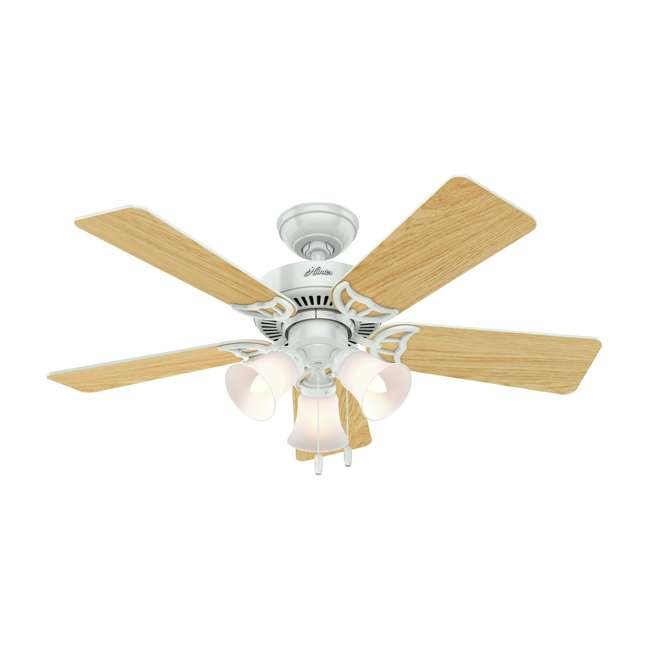 51005 Hunter 44 Inch Quiet Breeze Fresh White Ceiling Fan with Pull Chain and Light 3