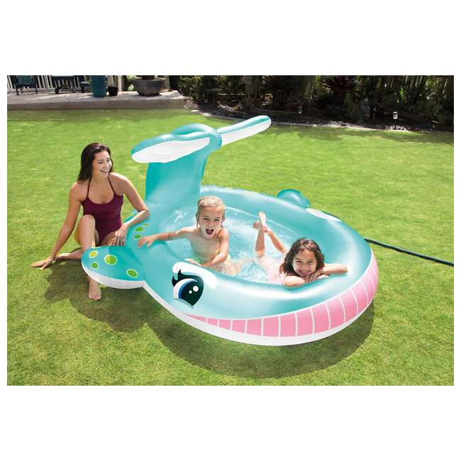"57440EP Intex 57440EP 79"" x 77"" x 36"" Inflatable Whale Spray Kiddie Pool with Hose Spray 1"