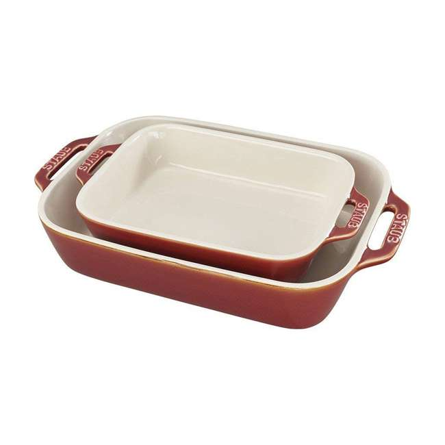 40511-923 Staub Ceramic 2-Piece Rectangular Baking Dish Set, Rustic Red