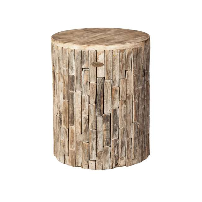 62420 Fire Sense Elyse Round Reclaimed Wood Garden & Patio Stool