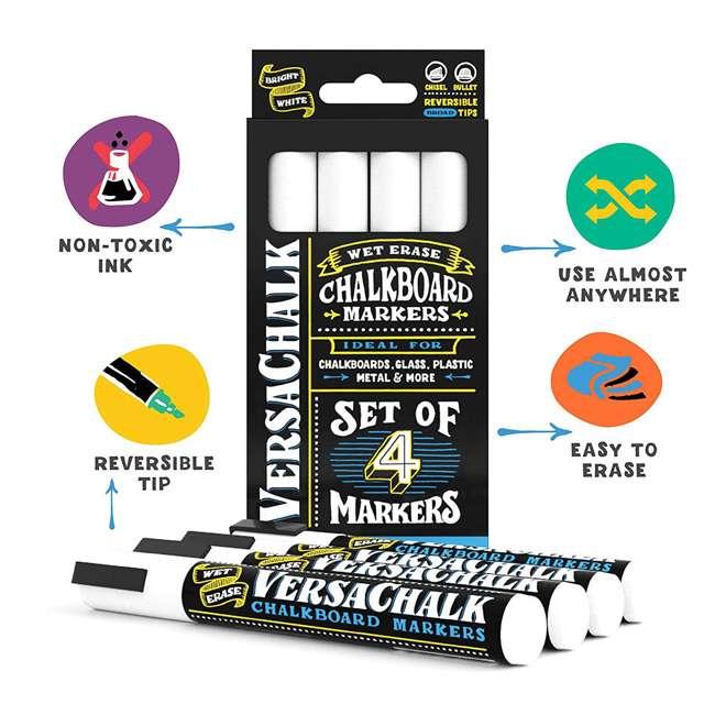 VC113-B + VC101-F4 VersaChalk A-Frame Sidewalk Chalkboard w/ 4x 3mm Fine Tip Liquid Chalk Markers 4