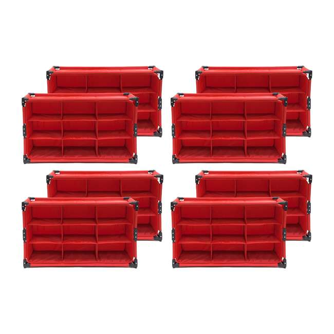 4 x RSF-TP-RB Origami 9-Cube Storage Organizer Shelf, Red (8 Pack)