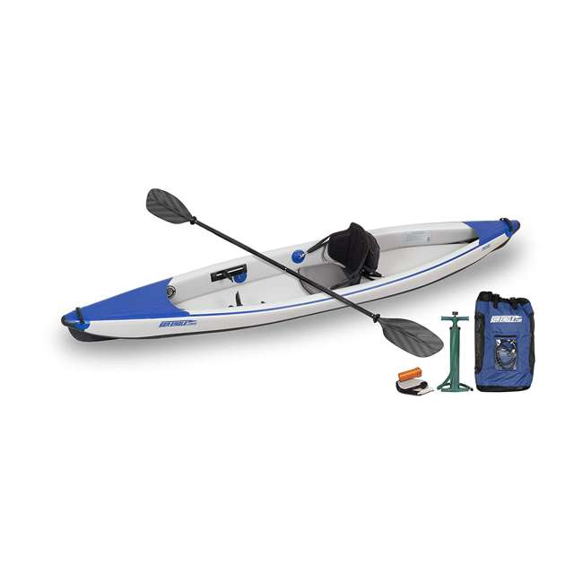 393rlk_p Sea Eagle One Person Inflatable Kayak Package, White & Blue