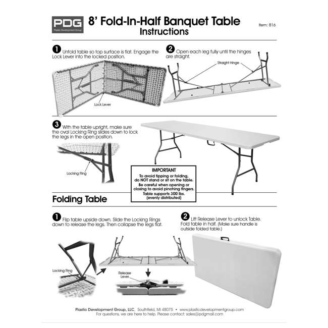 PDG-816 Plastic Development Group 816 8 Foot Fold In Half Folding Banquet Table, White 5