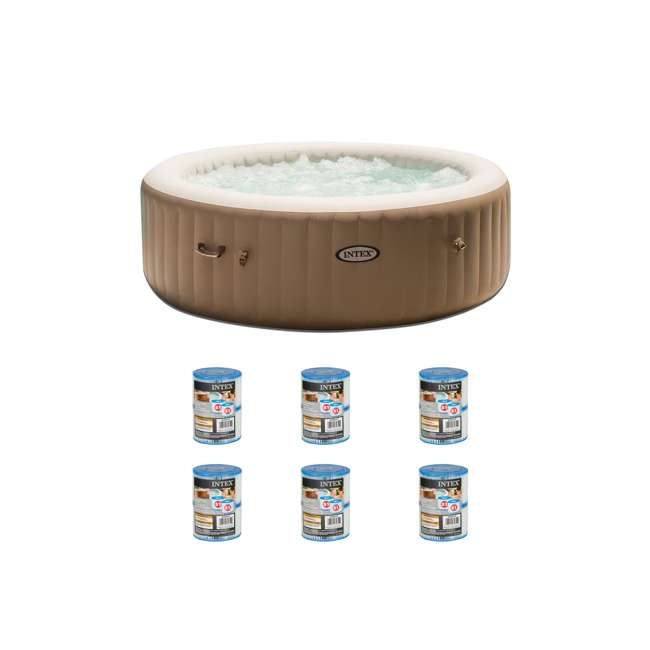 28407E + 6 x 29001E Intex Inflatable Hot Tub & 2 Filter Replacements (6 Pack)