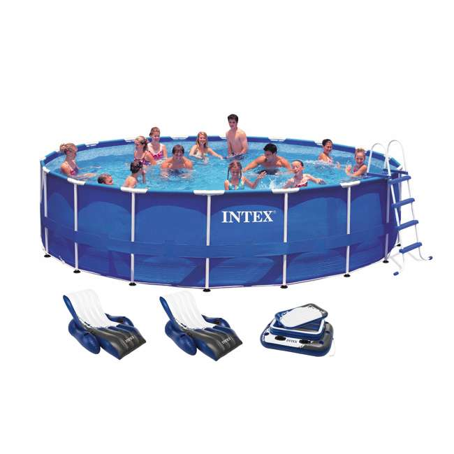 Intex 18 39 x 48 metal frame swimming pool set w 1500 gfci for Intex pool handler