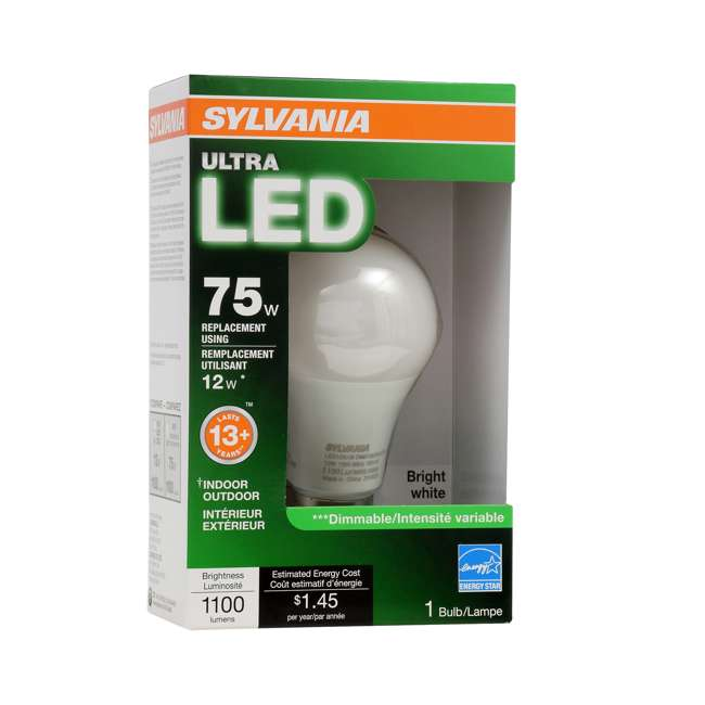 3 x SYL-74426 SYLVANIA Ultra 75W Equivalent 12W Dimmable A19 LED Bulb, Bright White (3 Pack) 2