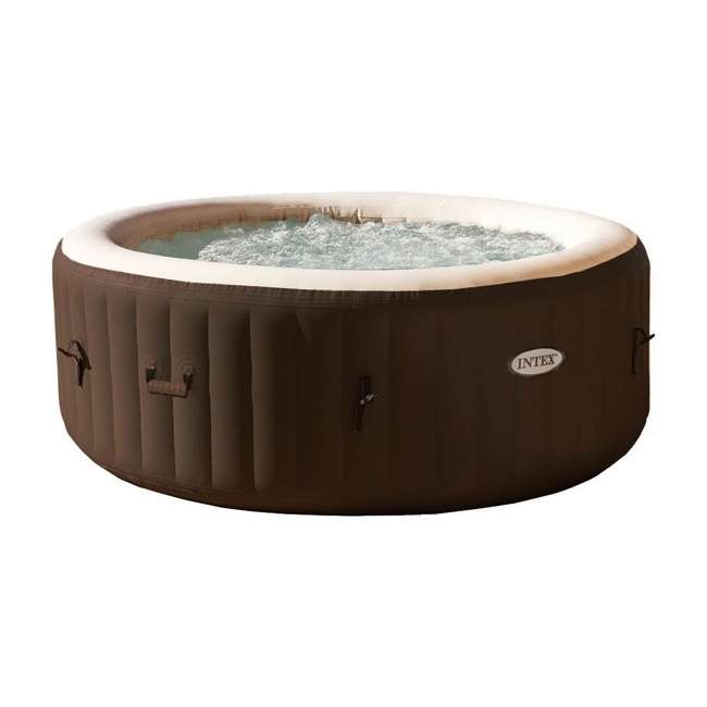 28403VM + 28508E Intex PureSpa 4-Person Inflatable Bubble Jet Portable Hot Tub with Bench Add-On  2
