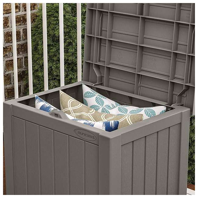 4 x SS500ST Suncast SS500ST 22 Gallon Small Resin Outdoor Patio Storage Deck Box (4 Pack) 3