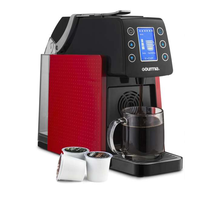 GCM5100R Gourmia 1 Touch Automated Single Serve Coffee and Espresso Maker Machine, Red