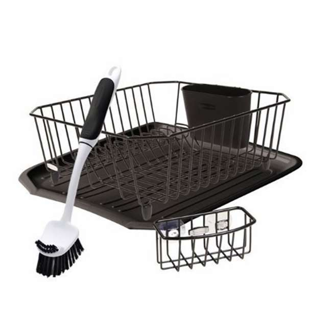 FG1F91MABLA Rubbermaid 4 Piece Antimicrobial Counter Top Sinkware Wire Drainer Set, Black
